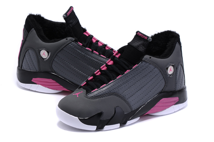 2015 Air Jordan 14 Retro Wool Grey Black Pink Women Shoes