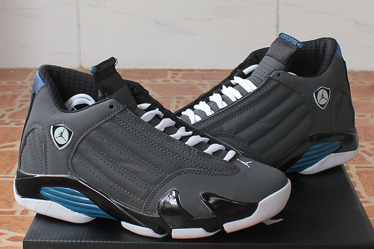 2015 Air Jordan 14 Black Grey Blue Shoes