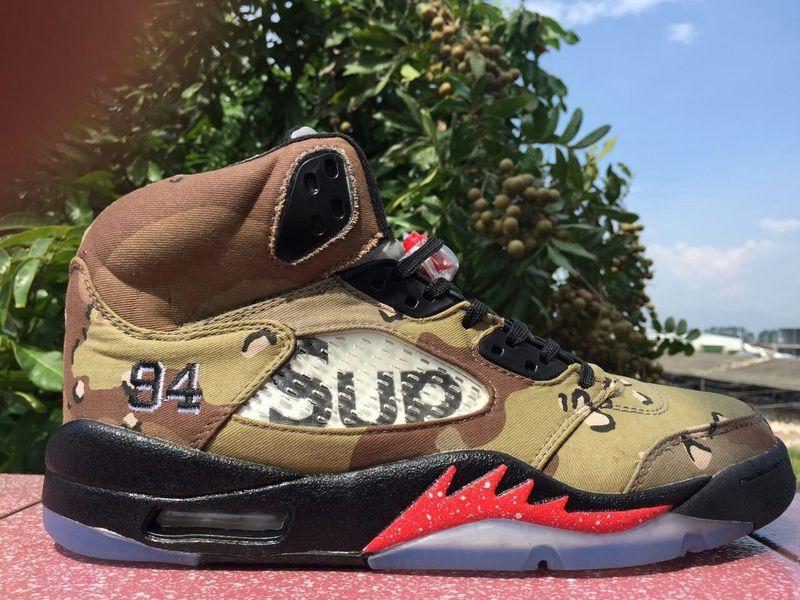 The Supreme Air Jordan 5 Shoes Desert Camo