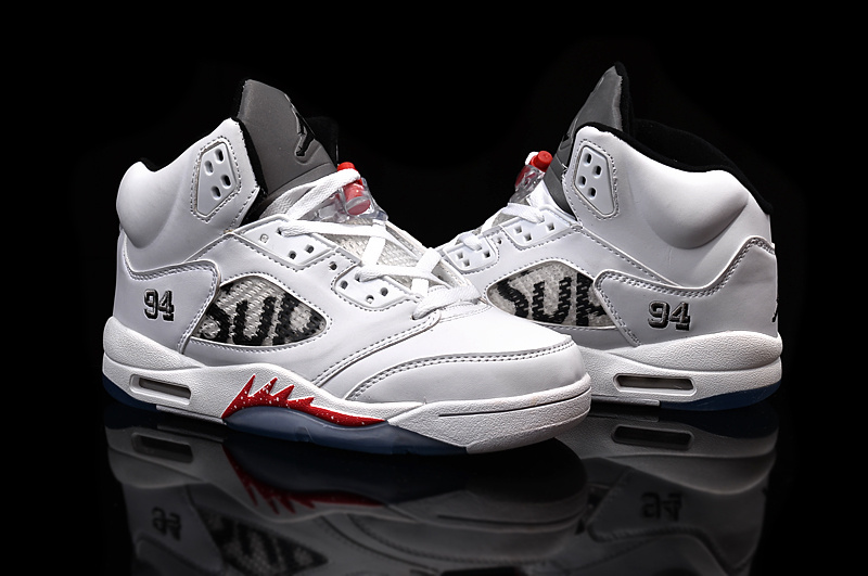 The Supreme Jordan 5 Shoes White Red