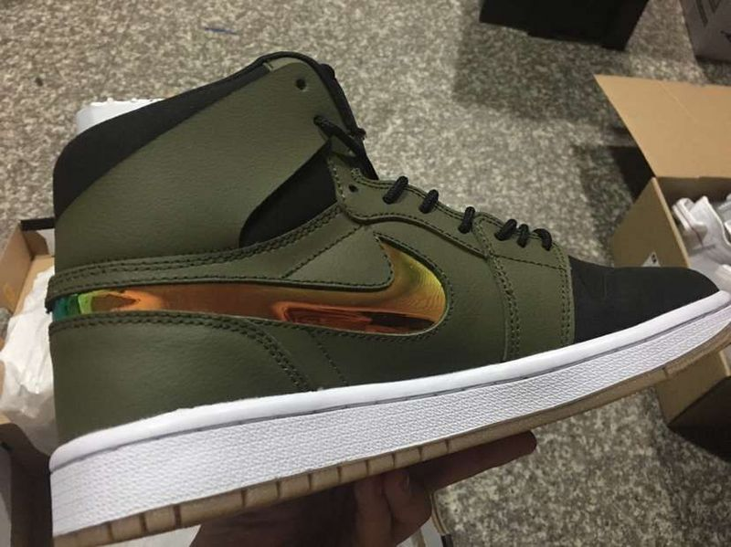2016 Air Jordan 1 Retro Army Rainbow Swoosh Shoes