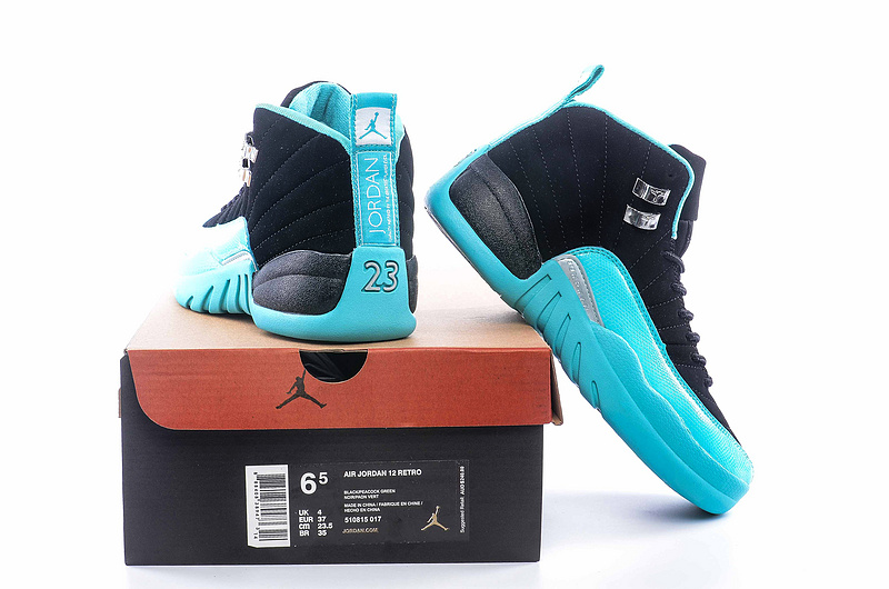 2016 Air Jordan 12 Retro Women Black Blue Shoes