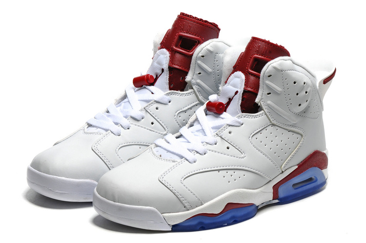 2016 Air Jordan 6 White Wine Red Blue Sole Shoes