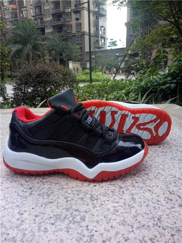 2016 Classic Air Jordan 11 Low Black Red White Shoes For Kids