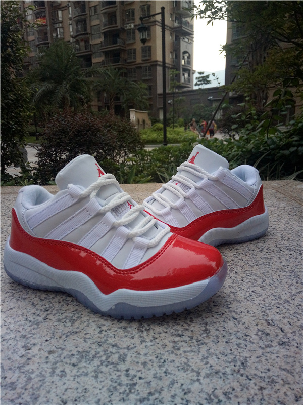 2016 Classic Air Jordan 11 Low White Red Shoes For Kids
