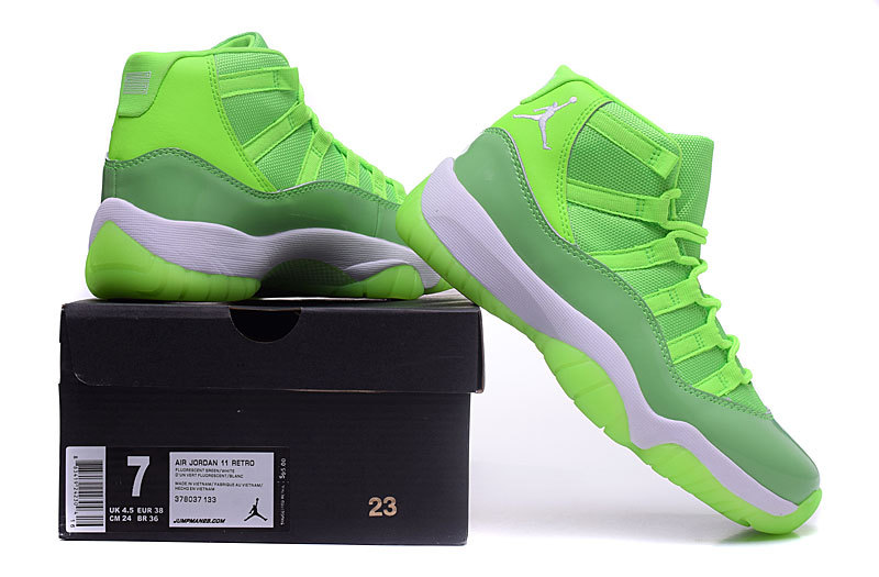 2016 Classic Air Jordan 11 Retro Fluorscent Green White Shoes For Women