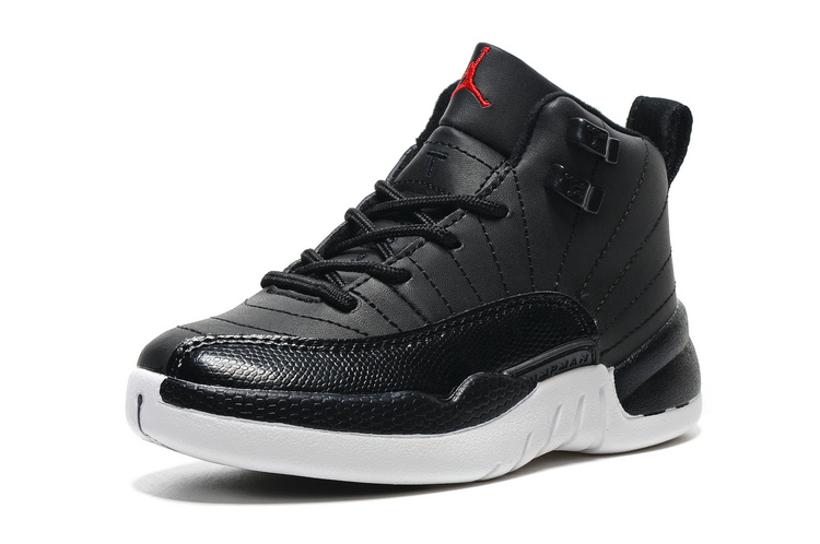 2016 Classic Air Jordan 12 Retro Black White Red Shoes For Kids