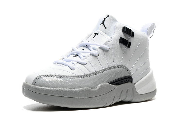 2016 Classic Air Jordan 12 Retro White Grey Black Shoes For Kids