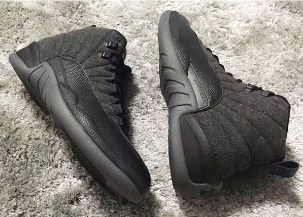 2016 Classic Air Jordan 12 Wool All Black Shoes
