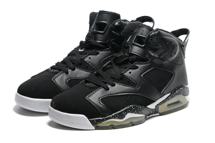 2016-Classic Air Jordan 6 Black White Transparent Sole Shoes