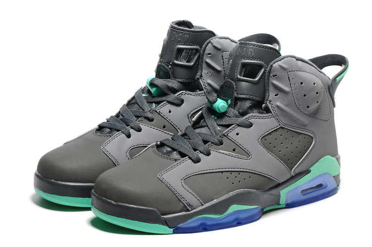2016 Classic Air Jordan 6 Grey Green Blue Sole Shoes