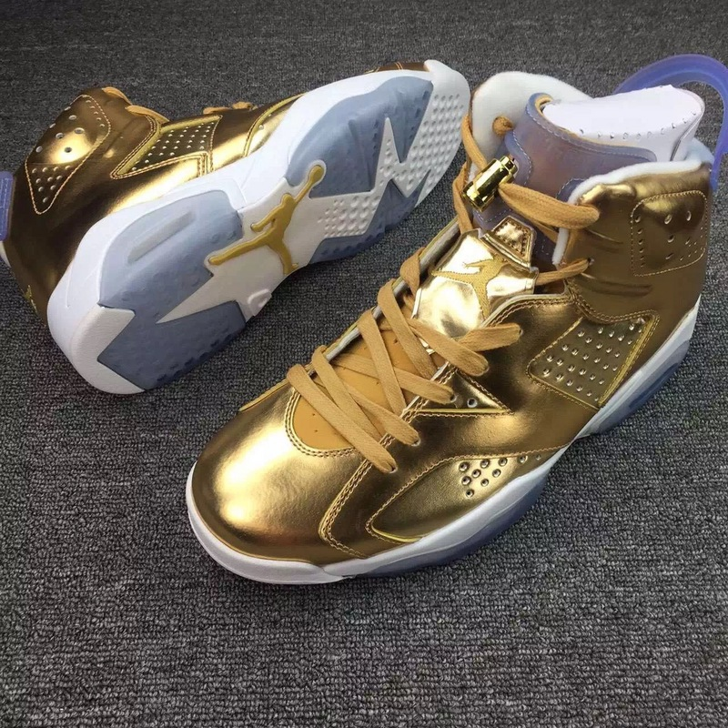 2016 Classic Air Jordan 6 Spizike Lee Gold White Shoes