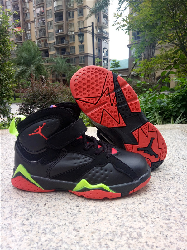 2016 Classic Air Jordan 7 Retro Black Red Green Shoes ForKids