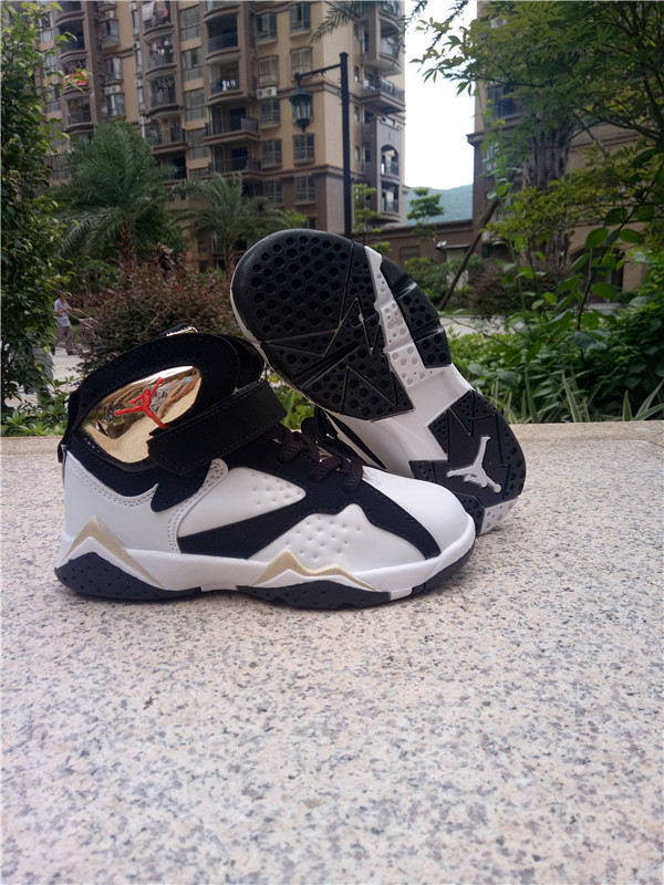2016 Classic Air Jordan 7 Retro Black White Gold Shoes For Kids