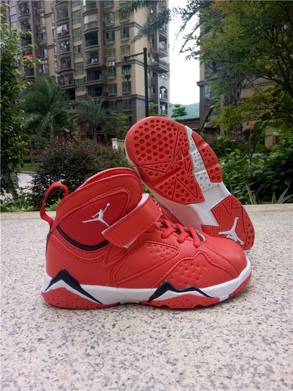 2016 Classic Air Jordan 7 Retro Red Black White Shoes For Kids