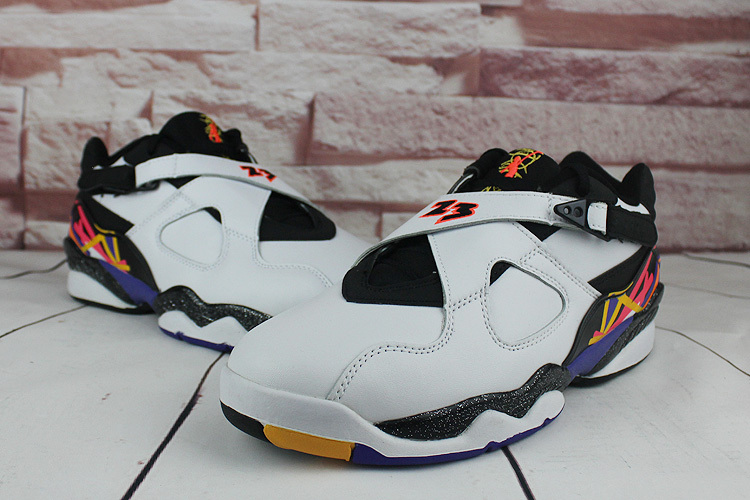 2016 Classic Air Jordan 8 Low Triple White Black Orange Shoes