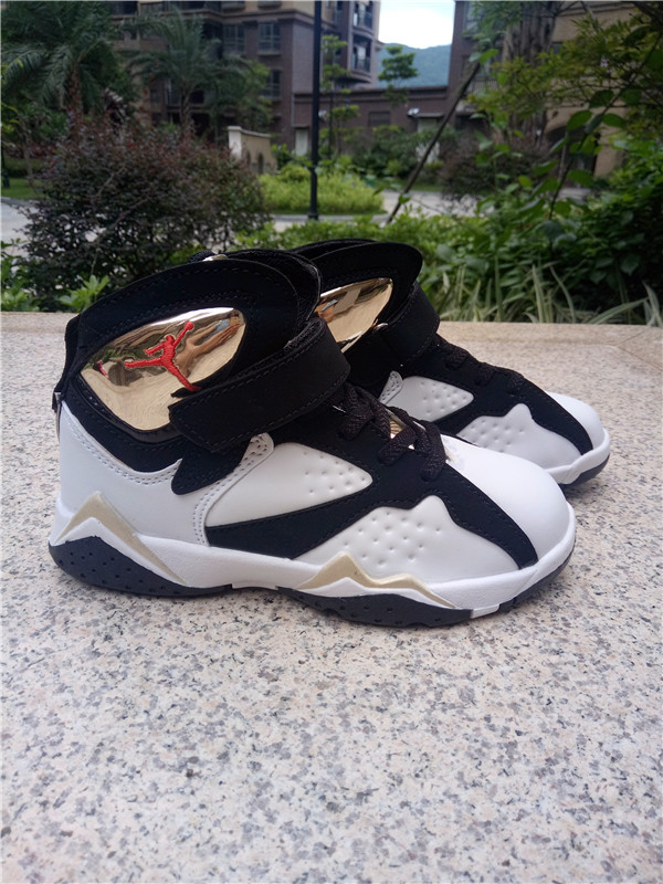 2016 Kids Air Jordan 7 Black White Gold Shoes