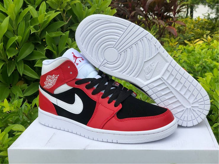 New Air jordan 1 mid chicago flip gym red black shoes