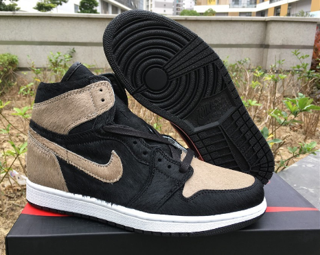 Air Jordan 1 Satin Pony Hair Shadow Shoes