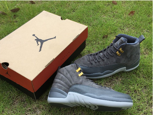 "Air Jordan 12 ""Dark Grey"" Suede Shoes"