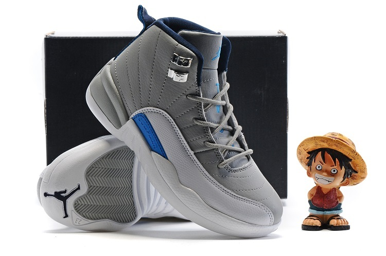 Air Jordan 12 Grey Blue Shoes For Kids On Sale