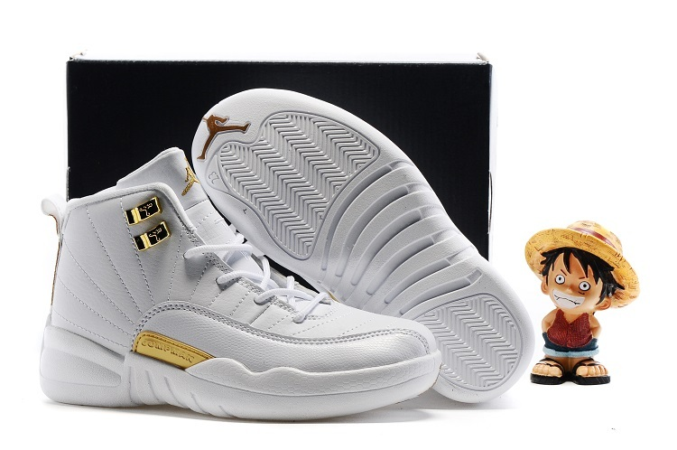 Air Jordan 12 OVO White Gold Shoes For Kids On Sale