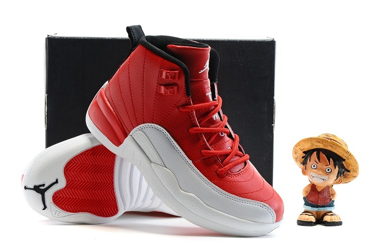 Air Jordan 12 Red White Shoes For Kids On Sale