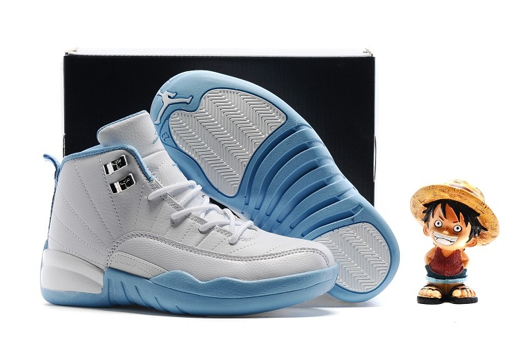 Air Jordan 12 White Baby Blue Shoes For Kids On Sale