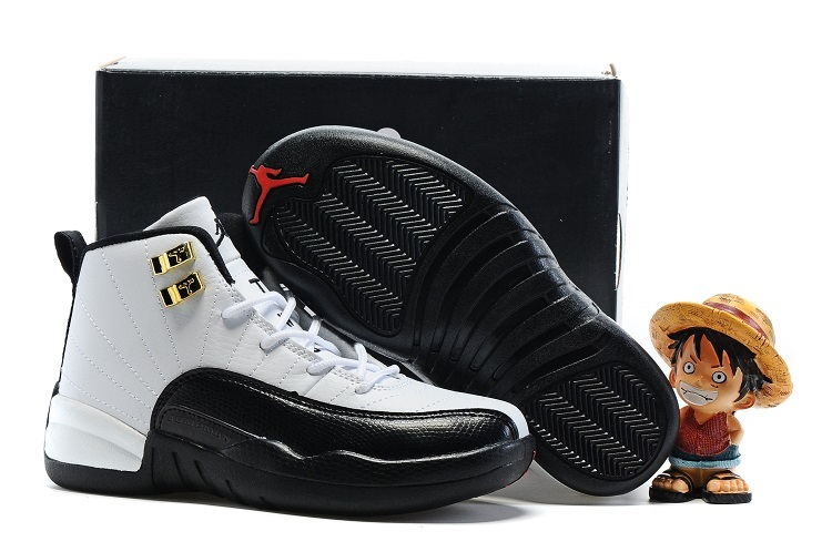 Air Jordan 12 White Black Shoes For Kids On Sale