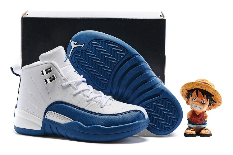 Air Jordan 12 White Frech Blue Shoes For Kids On Sale