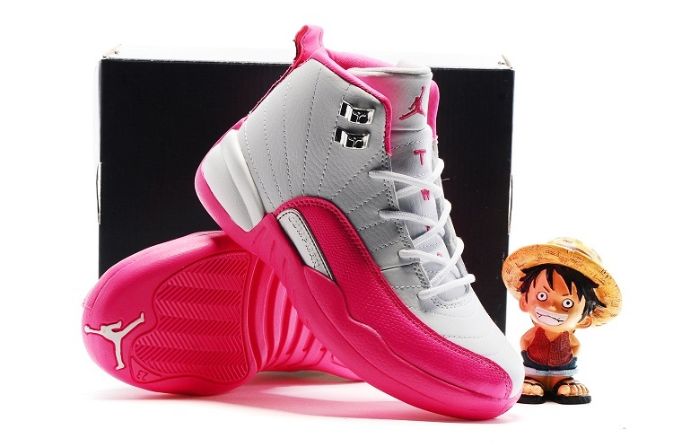 Air Jordan 12 White Pink Shoes For Kids On Sale