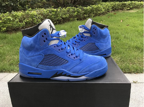 Air Jordan 5 Blue Suede Game Royal Black