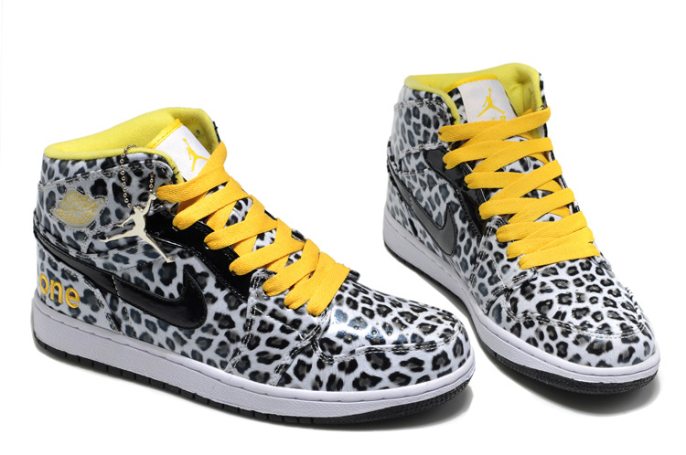 2013 Air Jordan 1 Leopard Leather White Black Yellow Shoes