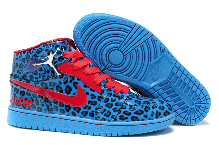 2013 Air Jordan 1 Leopard Leather White Blue Red Shoes