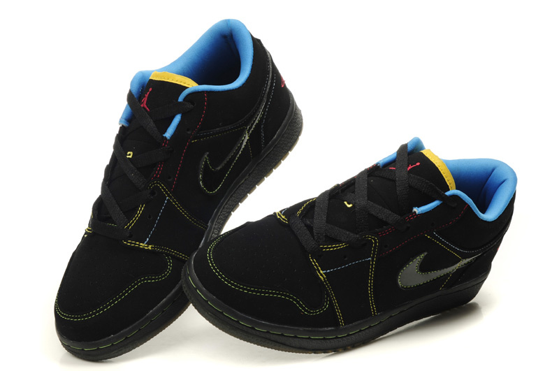 2012 Air Jordan 1 Low Black Blue Shoes