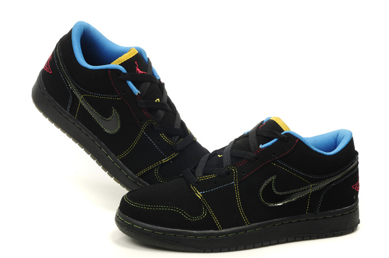 2012 Air Jordan 1 Low Black Blue Shoes