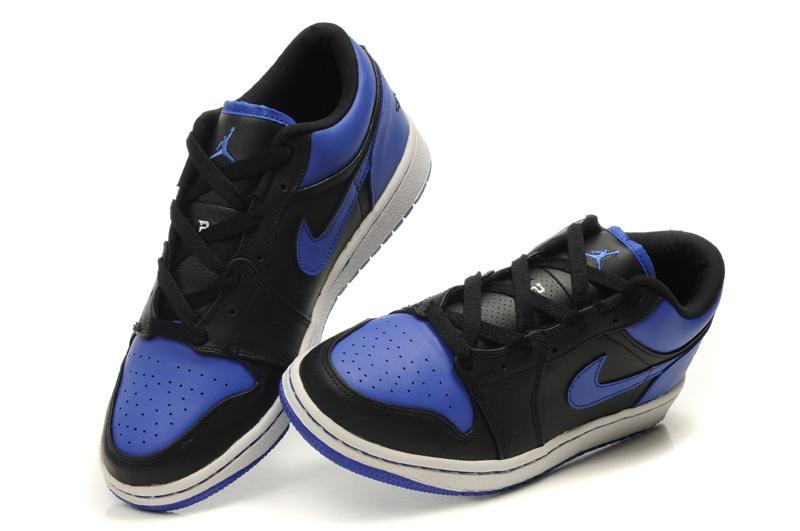 2012 Air Jordan 1 Low Black White Blue Shoes