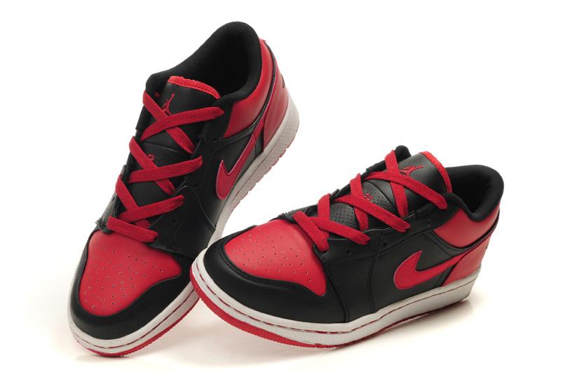 2012 Air Jordan 1 Low Black White Red Shoes