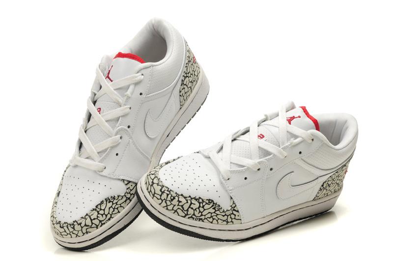 2012 Air Jordan 1 Low White Cement Black Shoes