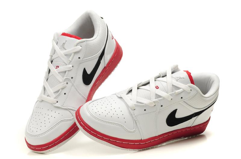 2012 Air Jordan 1 Low White Red Black Shoes