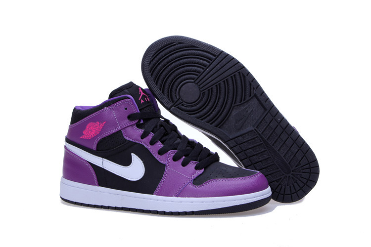 2015 Jordan 1 Mid GG Black Purple White