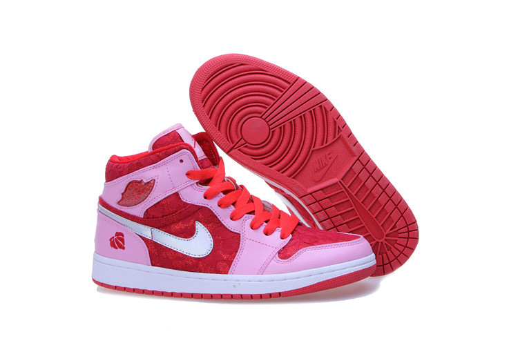 2015 Jordan 1 Mid Prem GS Red Pink White Women