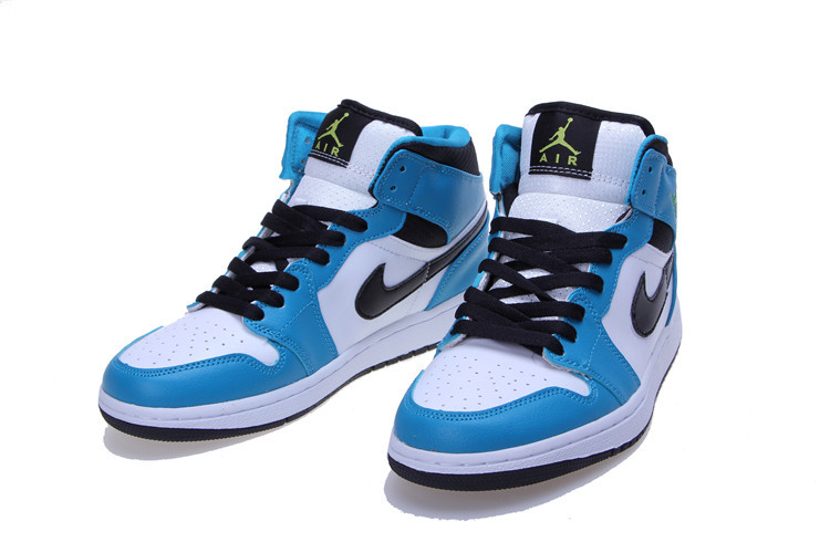 2015 Jordan 1 Mid White Blue Black Women