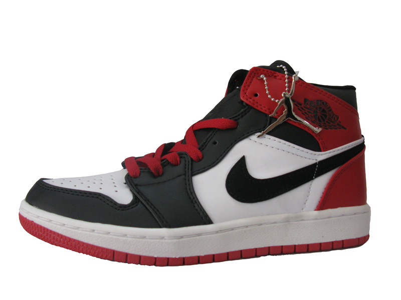 Original Air Jordan 1 Black White Red Shoes