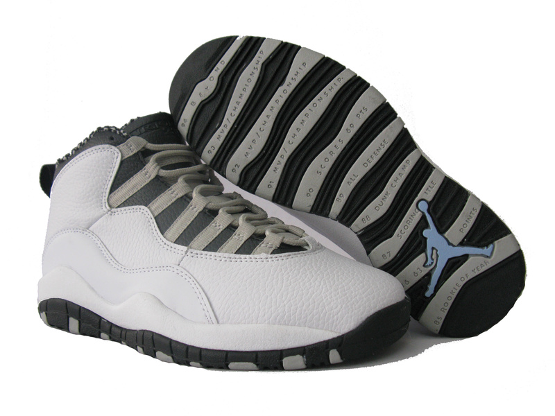Air Jordan 10 White Grey Black Shoes