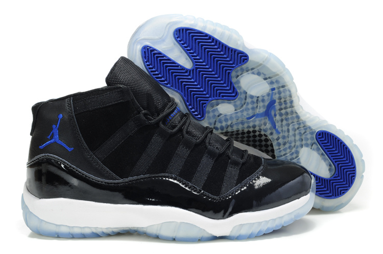 Comfortable Air Jordan 11 Suede Black White Blue Shoes