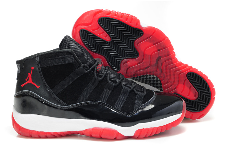 Comfortable Air Jordan 11 Suede Black White Red Shoes
