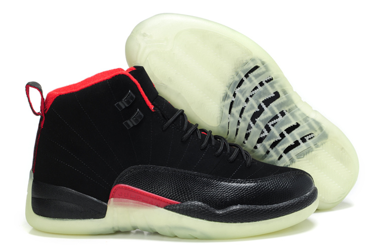 Special Air Jordan 12 Shine Sole Black Red Shoes