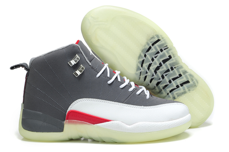 Special Air Jordan 12 Shine Sole Grey White Red Shoes