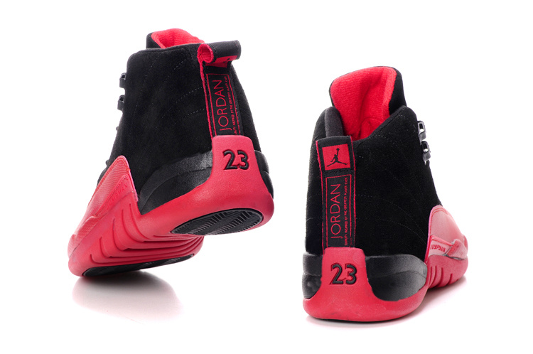 new arrival d61a9 d54c3 ... Comfortable Air Jordan 12 Suede Black Wine Red Shoes . ...